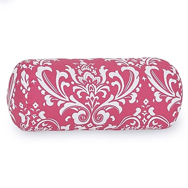 Majestic Home Goods Indoor French Quarter Round Bolster Pillow, Hot Pink