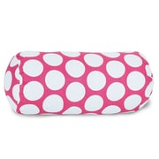 Majestic Home Goods Indoor Large Polka Dot Round Bolster Pillow, Hot Pink