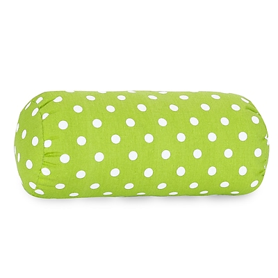 Majestic Home Goods Indoor Small Polka Dot Round Bolster, Lime