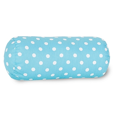 Majestic Home Goods Indoor Small Polka Dot Round Bolster, Aquamarine