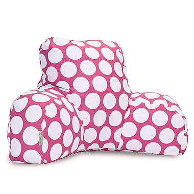 Majestic Home Goods Indoor Large Polka Dot Reading Pillow, Hot Pink