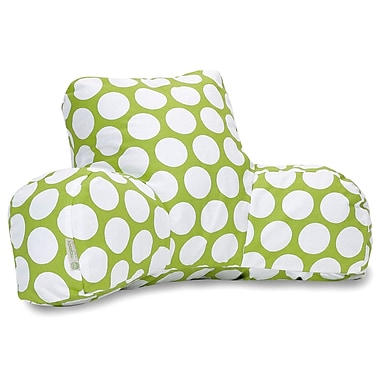 Majestic Home Goods Indoor Large Polka Dot Reading Pillow, Hot Green