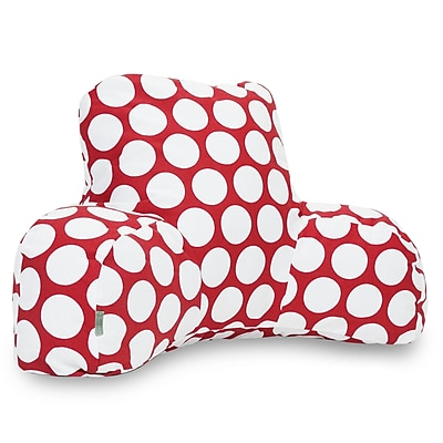 Majestic Home Goods Indoor Large Polka Dot Reading Pillow, Red Hot