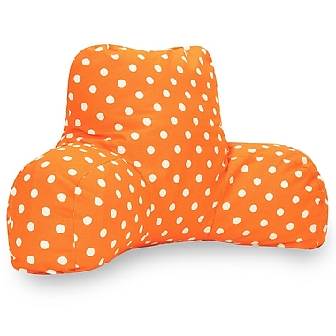 Majestic Home Goods Indoor Small Polka Dot Reading Pillow, Tangerine