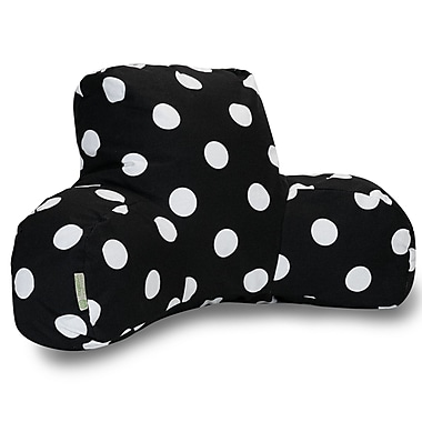 Majestic Home Goods Indoor Large Polka Dot Reading Pillow, Black