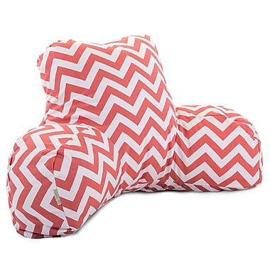 Majestic Home Goods Indoor Chevron Reading Pillow, Coral