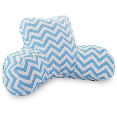 Majestic Home Goods Indoor Chevron Reading Pillow, Tiffany Blue
