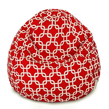 Majestic Home Goods Indoor Links Cotton Duck/Twill Small Classic Bean Bag Chair, Red