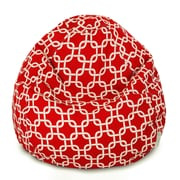 Majestic Home Goods Indoor/Outdoor Links Polyester Small Classic Bean Bag Chair, Red