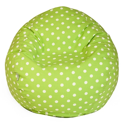 Majestic Home Goods Small Polka Dot Cotton Duck/Twill Small Classic Bean Bag Chair, Lime