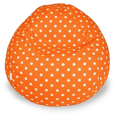Majestic Home Goods Small Polka Dot Cotton Duck/Twill Small Classic Bean Bag Chair, Tangerine