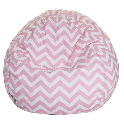 Majestic Home Goods Indoor Chevron Cotton Duck/Twill Small Classic Bean Bag Chair, Baby Pink