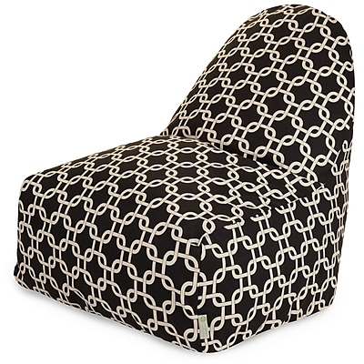Majestic Home Goods Indoor/Outdoor Links Polyester Kick-It Bean Bag Chair, Black