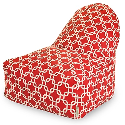 Majestic Home Goods Indoor/Outdoor Links Polyester Kick-It Bean Bag Chair, Red
