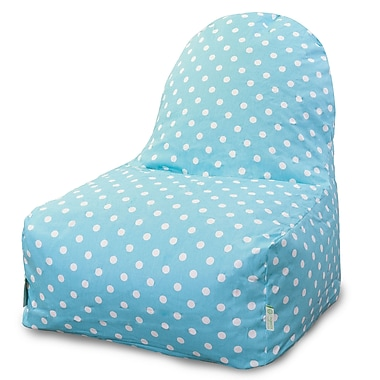 Majestic Home Goods Indoor Small Polka Dot Cotton Duck/Twill Kick-It Bean Bag Chair, Aquamarine