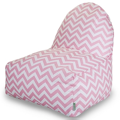 Majestic Home Goods Indoor Chevron Cotton Duck/Twill Kick-It Bean Bag Chair, Baby Pink