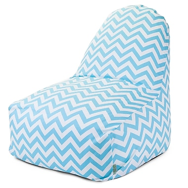 Majestic Home Goods Indoor Chevron Cotton Duck/Twill Kick-It Bean Bag Chair, Tiffany Blue