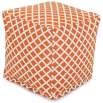 Majestic Home Goods Outdoor Polyester Bamboo Small Cube Ottoman, Burnt Orange