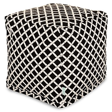 Majestic Home Goods Outdoor Polyester Bamboo Small Cube Ottoman, Black