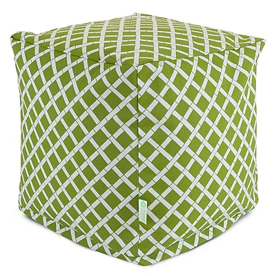 Majestic Home Goods Outdoor Polyester Bamboo Small Cube Ottoman, Sage
