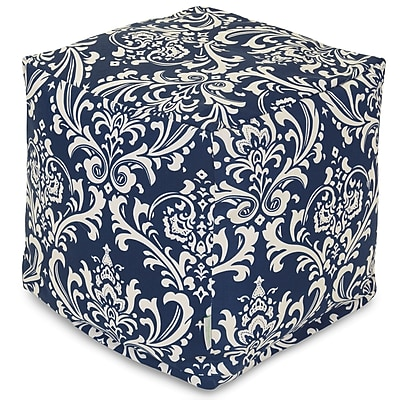 Majestic Home Goods Outdoor Polyester French Quarter Small Cube Ottoman, Navy Blue