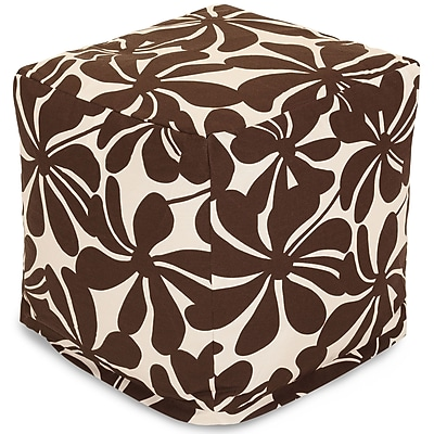 Majestic Home Goods Outdoor Polyester Plantation Small Cube Ottoman, Chocolate