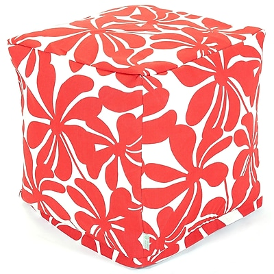 Majestic Home Goods Outdoor Polyester Plantation Small Cube Ottoman, Red