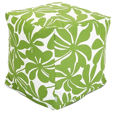 Majestic Home Goods Outdoor Polyester Plantation Small Cube Ottoman, Sage