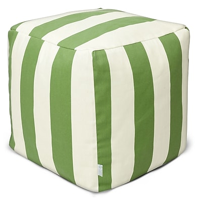 Majestic Home Goods Outdoor Polyester Vertical Stripe Small Cube Ottoman, Sage