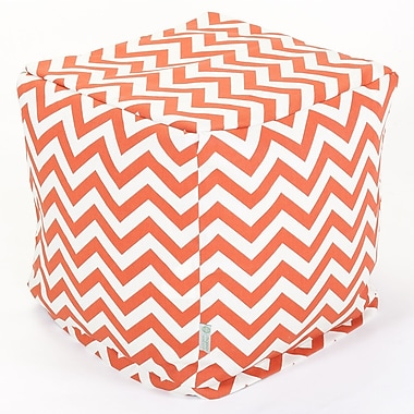 Majestic Home Goods Outdoor Polyester Chevron Small Cube Ottoman, Burnt Orange