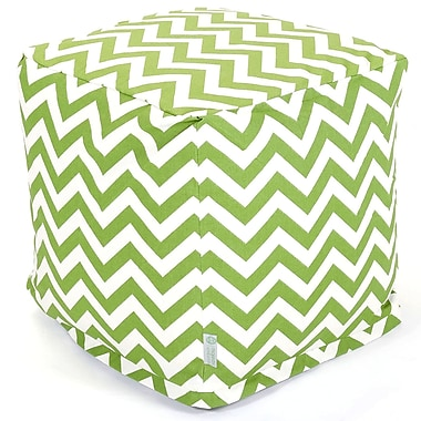 Majestic Home Goods Outdoor Polyester Chevron Small Cube Ottoman, Sage