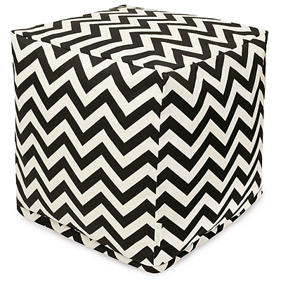 Majestic Home Goods Outdoor Polyester Chevron Small Cube Ottoman, Black