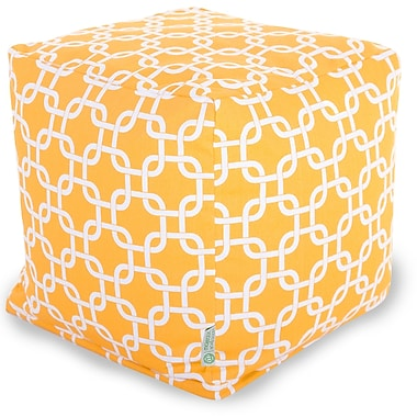 Majestic Home Goods Outdoor Cotton Duck/Twill Links Small Cube Ottoman, Yellow