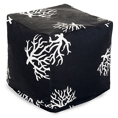 Majestic Home Goods Outdoor Polyester Coral Small Cube Ottoman, Black