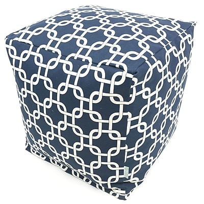 Majestic Home Goods Outdoor Cotton Duck/Twill Links Small Cube Ottoman, Navy Blue