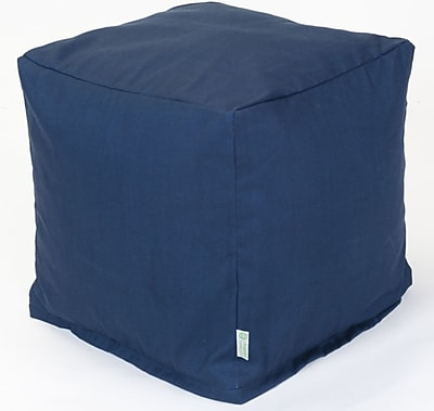 Majestic Home Goods Outdoor Cotton Duck/Twill Solid Small Cube Ottoman, Navy Blue
