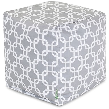 Majestic Home Goods Outdoor Cotton Duck/Twill Links Small Cube Ottoman, Gray