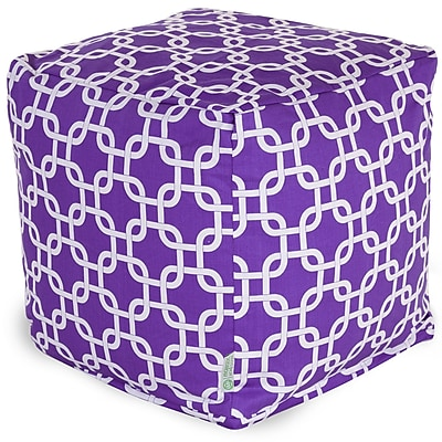 Majestic Home Goods Indoor Poly/Cotton Twill Links Small Cube, Purple/White