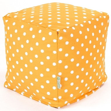 Majestic Home Goods Outdoor Cotton Duck/Twill Ikat Dot Small Cube Ottomans