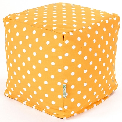 Majestic Home Goods Outdoor Cotton Duck/Twill Ikat Dot Small Cube Ottoman, Citrus