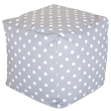 Majestic Home Goods Outdoor Cotton Duck/Twill Ikat Dot Small Cube Ottoman, Gray