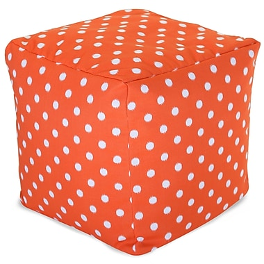 Majestic Home Goods Outdoor Cotton Duck/Twill Ikat Dot Small Cube Ottoman, Orange