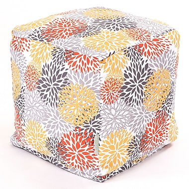 Majestic Home Goods Outdoor Polyester Blooms Small Cube Ottoman, Citrus