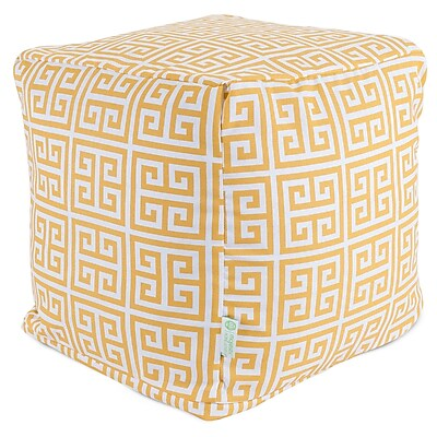 Majestic Home Goods Outdoor Cotton Duck/Twill Towers Small Cube Ottoman, Citrus