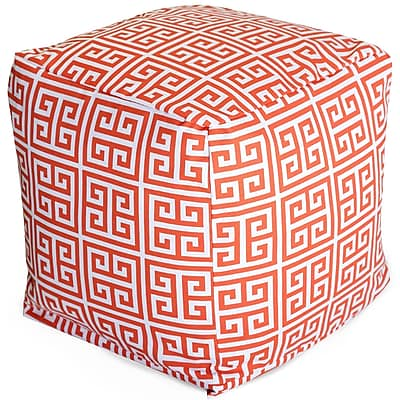 Majestic Home Goods Outdoor Cotton Duck/Twill Towers Small Cube Ottoman, Orange
