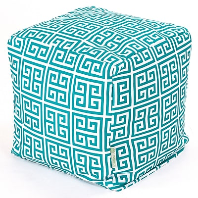 Majestic Home Goods Outdoor Cotton Duck/Twill Towers Small Cube Ottoman, Pacific