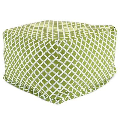 Majestic Home Goods Outdoor Polyester Bamboo Large Ottoman, Sage