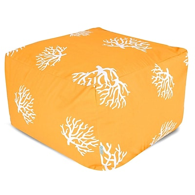 Majestic Home Goods Outdoor Polyester Coral Large Ottoman, Yellow