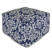 Majestic Home Goods Outdoor Polyester French Quarter Large Ottoman, Navy Blue