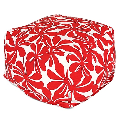 Majestic Home Goods Outdoor Polyester Plantation Large Ottoman, Red